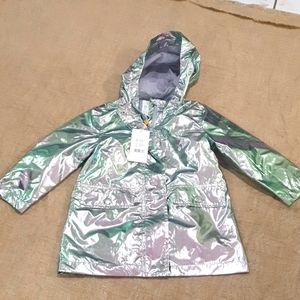 Size 3 BNWT Pumpkin Patch Silver Foil Jacket silver green and pink tones